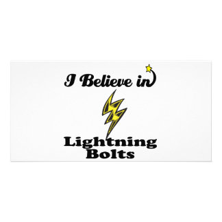 i believe in lightning bolts customised photo card
