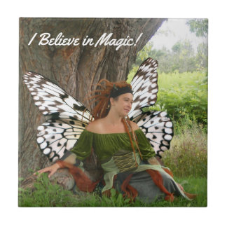 I Believe in Magic Beautiful Fairy Girl Tile