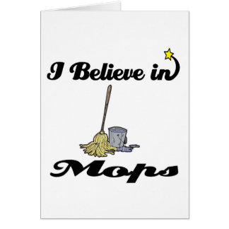 i believe in mops greeting cards
