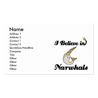 i believe in narwhals pack of standard business cards