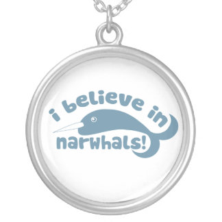 I believe in Narwhals Round Pendant Necklace
