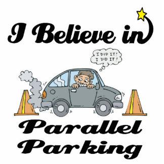 i believe in parallel parking standing photo sculpture