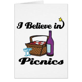 i believe in picnics greeting card