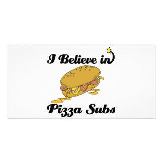 i believe in pizza subs custom photo card