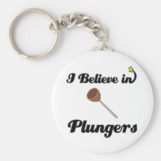 i believe in plungers basic round button key ring