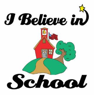 i believe in school standing photo sculpture