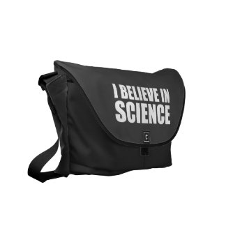 I believe in science white text atheist atheism messenger bag