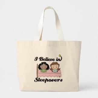 i believe in sleepovers canvas bags