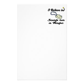 i believe in soap on a rope customized stationery