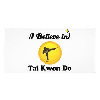 i believe in tai kwon do customized photo card