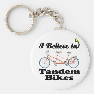 i believe in tandem bikes basic round button key ring