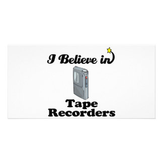 i believe in tape recorders personalised photo card