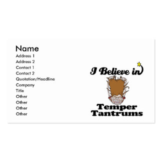 i believe in temper tantrums business card templates
