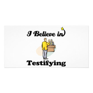 i believe in testifying personalized photo card