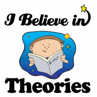i believe in theories standing photo sculpture