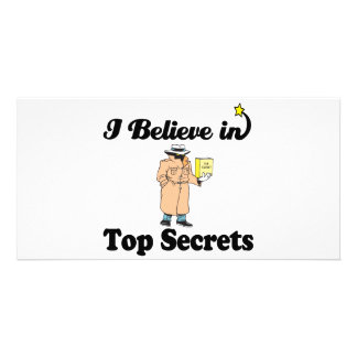 i believe in top secrets personalised photo card