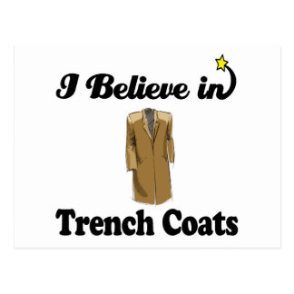 i believe in trench coats postcard
