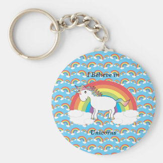 I believe in unicorns basic round button key ring