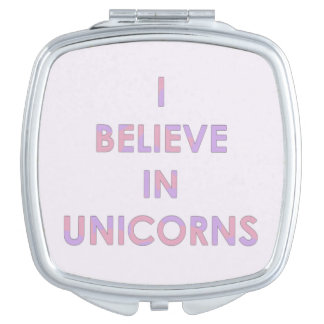 I Believe In Unicorns Pink and Purple Cotton Candy Makeup Mirror