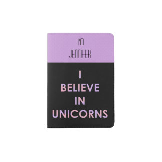 I Believe In Unicorns Pink and Purple Cotton Candy Passport Holder