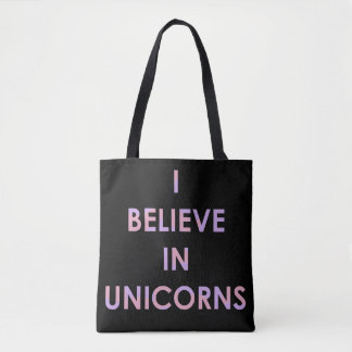 I Believe In Unicorns Pink and Purple Cotton Candy Tote Bag