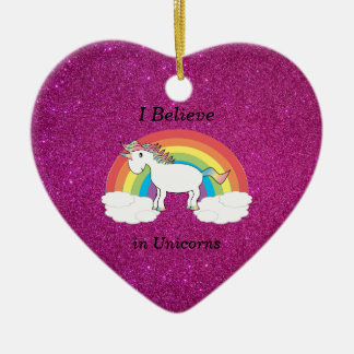 I believe in unicorns pink glitter christmas ornament