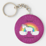 I believe in unicorns pink glitter key chain