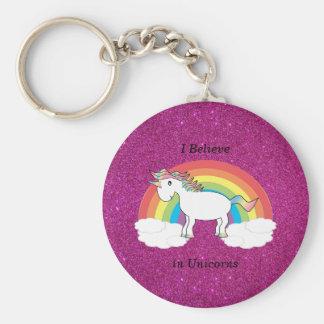 I believe in unicorns pink glitter key ring