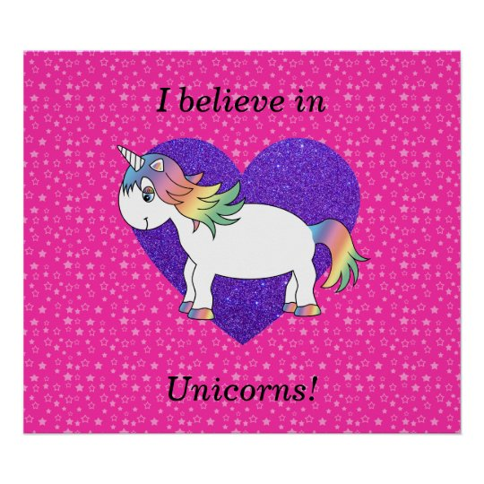I believe in unicorns pink stars poster