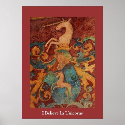 I Believe In Unicorns  POSTER mediaeval art