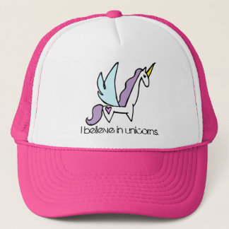 I believe in unicorns trucker hat