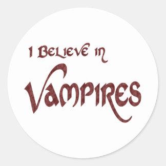 I Believe In Vampires Round Stickers