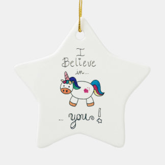 I believe in YOU! Unicorn Ceramic Star Decoration