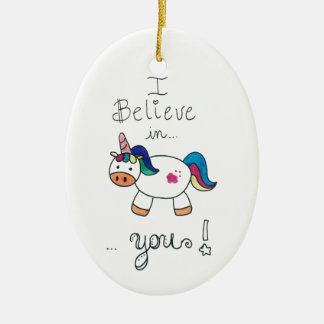 I believe in YOU! Unicorn Christmas Ornament