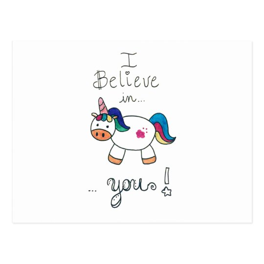 I believe in YOU! Unicorn Postcard