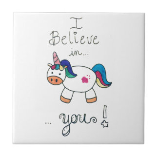 I believe in YOU! Unicorn Small Square Tile