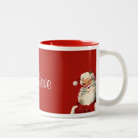"""I believe"" Jolly Vintage Santa Two-Tone Coffee Mug"