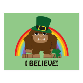 I Believe! Leprechaun Bigfoot Postcard