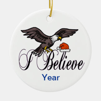 I Believe Patriotic Christmas Eagle Ornament