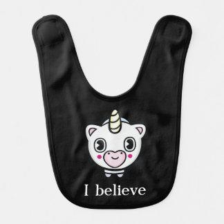I Believe Unicorn Emoji Baby Bib