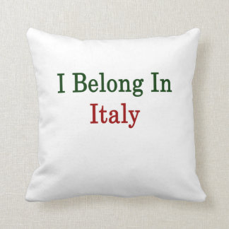I Belong In Italy Throw Pillow