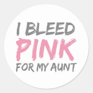 I Bleed Pink Breast Cancer Aunt Round Sticker