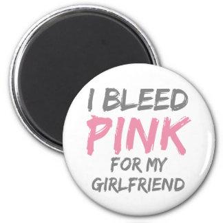 I Bleed Pink Breast Cancer Girlfriend 6 Cm Round Magnet