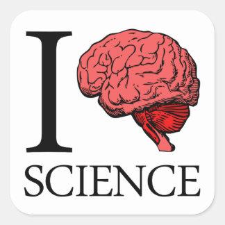 I Brain Science (I Know science) (I Love Science). Square Sticker