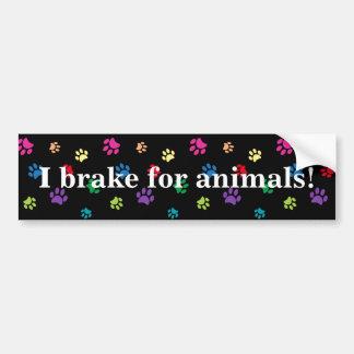 """""""I brake for animals!"""" Rainbow Painted Paws (dark) Bumper Sticker"""