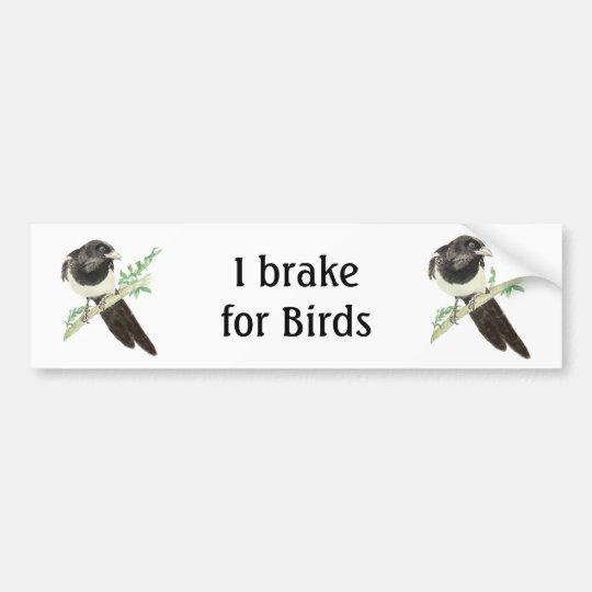 I Brake for Birds, Watercolor Magpie for Birders Bumper Sticker