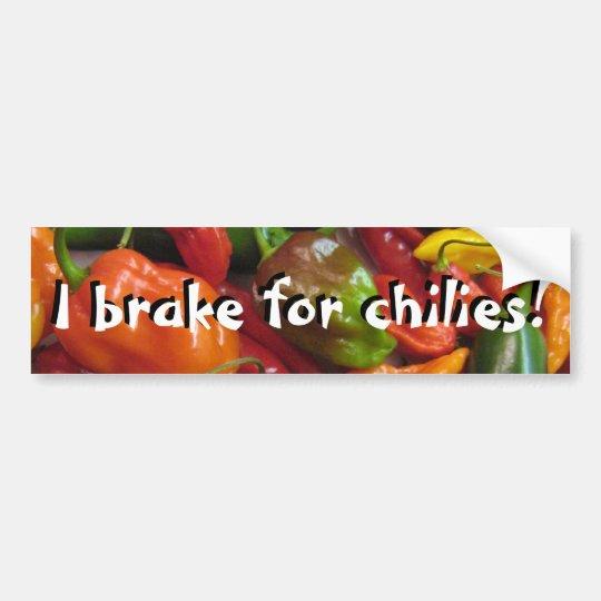 I Brake For Chilies! Bumper Sticker