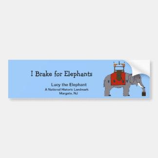 """I Brake for Elephants"" Bumper Sticker"
