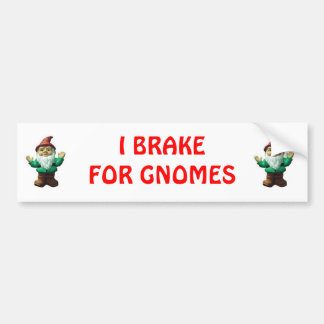I BRAKE FOR GNOMES (RED) BUMPER STICKER