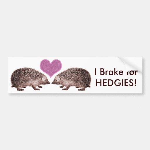 I Brake for HEDGIES! Save Hedgehogs Bumpersticker Bumper Stickers